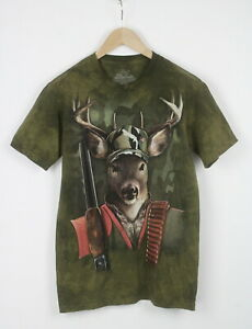 THE MOUNTAIN Men's SMALL Forest Hunting Elk Print Short Sleeve T-Shirt 23591_JS