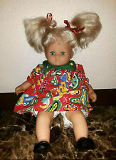 "Vintage German Zapf Creation Doll 12"" Blonde Hair Pigtails Blue Eyes with Outfit"