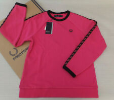 Fred Perry Ladies Sports Taped Crew Neck Sweatshirt UK 8 BNWT G41230 Bubblegum