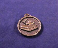 "Vintage 1.5"" Brass Medallion Medal Aladdin's Lamp & Books""Operation Main Stream"""