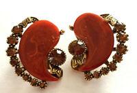 Vintage Clip Earrings Signed Art Bakelite Reddish Brown Rhinestone Gold tone