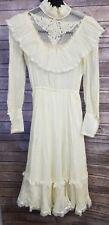 Vintage Gunne Sax by Jessica Womens Cream Dress Prairie Hippie sz 5 Lace Ruffle