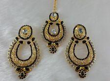 Designer Hollow Black Gold Plated Party Wear Kundan Zeronice Earrings With Tikka