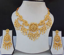 UK Indian Bollywood Jewelry Fashion 22K Gold Plated Wedding Necklace Earring Set