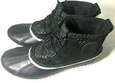 SOREL Women's Out N About Rain Boots Black/Sea Salt Size 9.5 Waterproof Lace Up