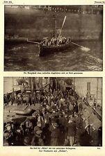 """Para retorno de los """"Gaviota"""" prisioneros ingleses u. indios 1. WK. documento de imagen 1917"""