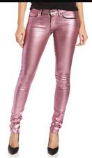 """Raro Ópalo Rosa Brillo Lámina Juicy Couture Jeans Metálico Rosa Pierna Flaca 26"""""""