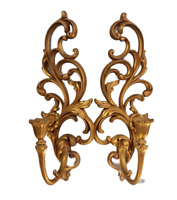 Vintage Homco Syroco Gold Tone Candle Sconces Wall Hanging 4531 Set of 2