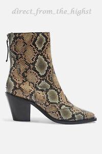 TOPSHOP MARCEL 2 Western Snake Mid Heel Ankle Boots SIZE EU 36_37_38_39_40_41_42