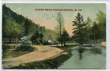 Railroad Train Road Bridge Parkersburg West Virginia 1913 postcard