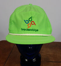 Vintage 80s 90s Breckenridge Colorado Neon Dayglo Rope Ski Snowboard Hat Cap