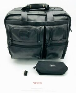 Tumi 96103DH Leather Expandable Wheeled Rolling Laptop Briefcase Carryon Bag