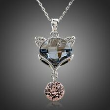 New Designer Sparkly Shiny Austria Crystal Cat Chain Necklace Pendant Jewellery