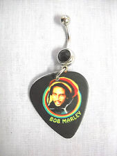 RASTA COLORS BOB MARLEY WITH HAT PICTURE GUITAR PICK RED CZ BELLY BUTTON RING