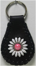 Handcrafted Leather Key Ring with White and Pink Daisy