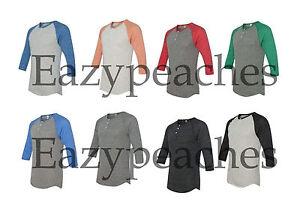 Alternative Apparel ECO Unisex Mens Womens 3/4 Sleeve Raglan Henley SIZE XS-2XL