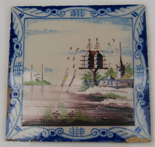 carreau de cheminée faïence delft 19ème - polychrome pigeonnier
