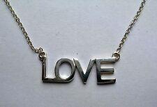 "925 Sterling Silver 16""-17"" adjustable 'Love' Necklace 2.7g"