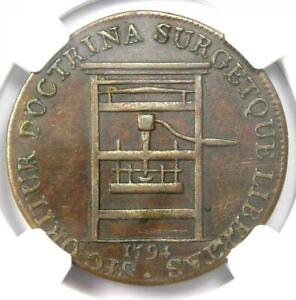 1794 Franklin Press Colonial Token Coin - Certified NGC AU Detail - Rare!