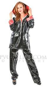 Regenjacke Regenanzug Raincoat  Regenhose Impermeable 100%PVC S-3XL schwarz rot