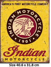 Indian Motorcycle 1901 Americas First  Tin Sign 1934 Official Licensed Sign.