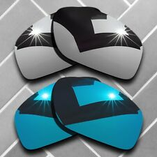 2 Packs Replacement Lenses for-Oakley Valve OO9236 Polarized-Silver&Sky Blue