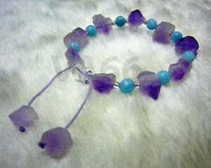 Raw Amethyst Aquamarine Healing Gemstone Adjustable Bracelet Gelang Batu Asli
