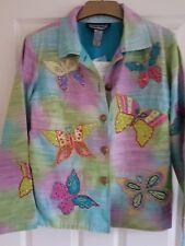 "Indigo Moon Jacket Sz S - Turquoise Ombre Butterflies & Bling - Bust 42"""