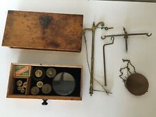 FINE ANTIQUE APOTHECARY LONDON MADE BRASS BALANCE SCALES & WEIGHTS