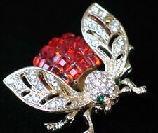 ORANGIE RED GREEN CLEAR RHINESTONE BUG INSECT FLYING BUMBLE BEE PIN BROOCH 1 1/4