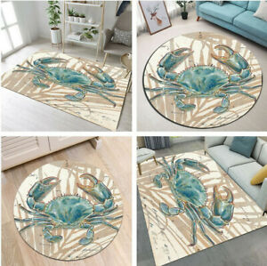 Watercolor Crab Home Decor Carpet Bedroom Area Rugs Living Child Room Floor Mat