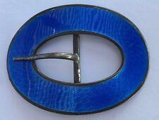 Guilloche Blue Enamel Belt Buckle Victorian 1890's Solid Sterling Silver