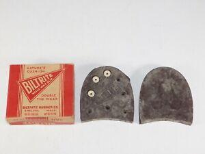 NOS Pair Antique Biltrite Mens Brown 13-14 Rubber Vtg Heel Shoe Cobbler Repair
