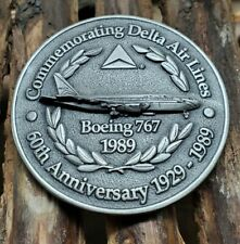 "BOEING 767  DELTA AIR LINES 1989 BRONZE COMMEMORATIVE 3"" MEDAL 60th Anniversary"