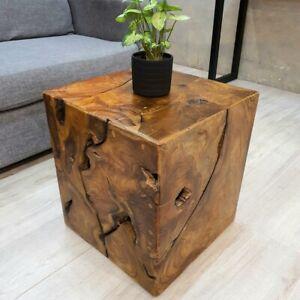 "[MANGO TREES] ""Harris"" Inlayed Solid Teak Wood Stool/Side Table/Plant Stand 40cm"