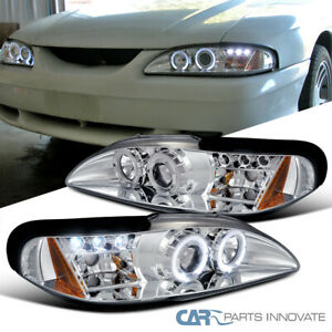 Ford 94-98 Mustang Cobra GT LED Halo Projector Headlights Lamp Chrome