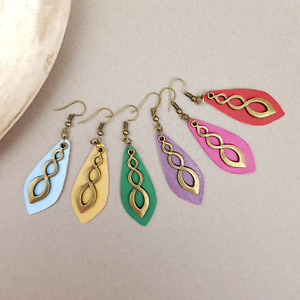 Genuine Leather Handmade Drop Earrings Great As Unique Handmade Gift