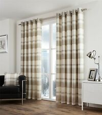 "PLAID CHECK CREAM BEIGE 66X54"" LINED 100% COTTON ANNEAU TOP CURTAINS RETURN/"