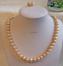 Silver genuine 8-9mm 5A near round freshwater pearls necklace+earring set PINK