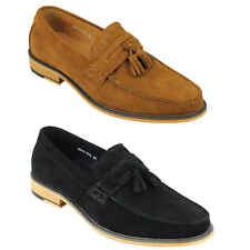 Mens Retro 100% Real Suede Leather Penny Loafers Vintage Tassel Shoes Black Tan