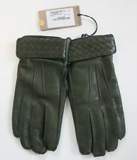 NWT Auth BOTTEGA VENETA Green Woven NAPPA Leather CASHMERE Lined Men's Gloves 9