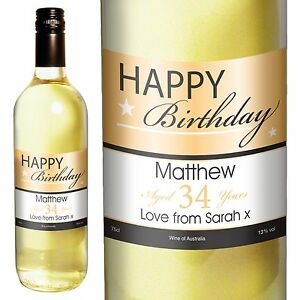 Personalised White Wine - Happy Birthday Gifts 75cl - For Her, For Him, Mum, Dad