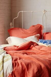 Anthropologie Soft - Washed Linen Queen Duvet Cover & Two Standard Shams CORAL