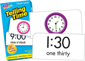 Trend Enterprises Telling Time Flash Cards - Pack of 96