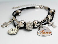 Genuine Braided Leather Charm Bracelet With Name - JANE - Gifts for her