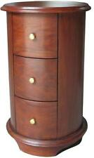 Solid Mahogany Cylinder / Round Bedside Table / Cabinet 3 drawer BS021