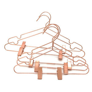 """Adult 16.5"""" Shiny Metal Rose Gold Coat Pants Clothes Clips Hangers Storage 10PS"""