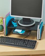 Monitor Riser Office Desk Organizer Storage Steel Black Computer Space Saver