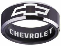 Chevrolet Ring Chevy Wedding Band 8mm Tungsten Black Sizes 4 - 17