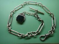Heavy English sterling silver hallmarked watch chain & fob, 18 inches, 51.6-gram